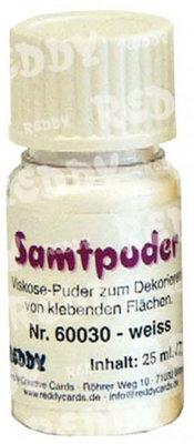 BASTELZUBEHÖR / CRAFT ACCESSORIES Samtpuder, Fläschchen mit 7 gr., weiss