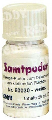 BASTELZUBEHÖR / CRAFT ACCESSORIES Velvet powder, vials of 7 gr., White