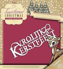 Yvonne Creations presning og prægning mappe: Traditionel jul Tekst NL: Vrolijk Kerstfeest
