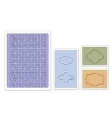 embossing Präge Folder cartelle di goffratura: Etichette Jar Set