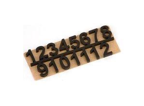 Embellishments / Verzierungen Selvklæbende tal sæt 1 t / m 12, Sort