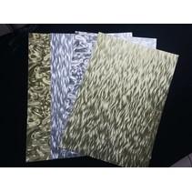 A4 sheet laminated cardboard sheet in metal engraving, 4 sheets, Gold and Silver
