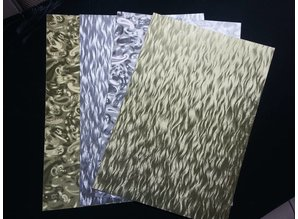 DESIGNER BLÖCKE  / DESIGNER PAPER A4 sheet laminated cardboard sheet in metal engraving, 4 sheets, Gold and Silver