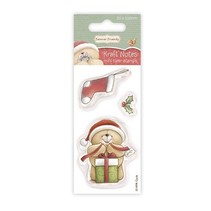 sello transparente: Oso con el regalo