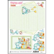 Marij Rahder twin set cartões 01 do bebê