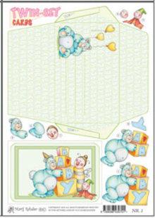 KARTEN und Zubehör / Cards Marij Rahder tarjetas gemelo determinado 01 del bebé