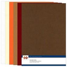 DESIGNER BLÖCKE  / DESIGNER PAPER Set linned pap, efterår farve, A4