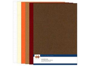 DESIGNER BLÖCKE  / DESIGNER PAPER Set linen cardboard, autumn color, A4
