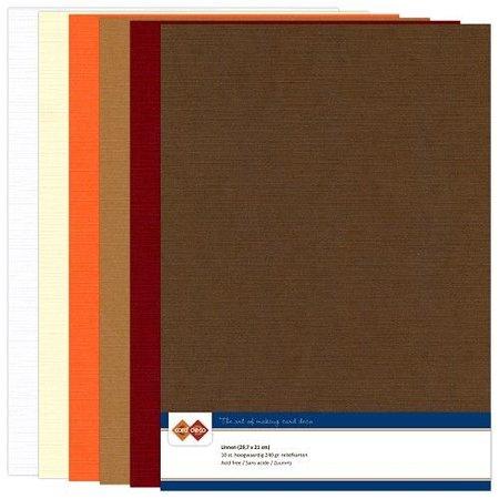DESIGNER BLÖCKE  / DESIGNER PAPER Set Leinen Karton, Herbstfarbe, A4