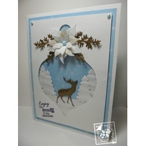 Stamping and Embossing stencil, Christmas tree balls
