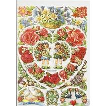 A5, restos: Corazón floral