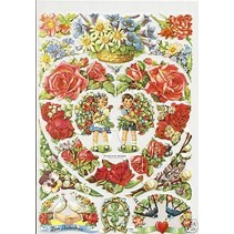 A5, scraps: Floral Heart