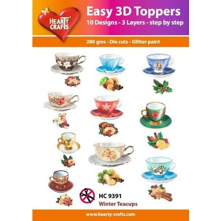 Embellishments / Verzierungen Fácil Toppers 3D: tazas de té de la vendimia