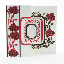 TONIC stamping and embossing folder: Flip Flop, Easel & frame with roses