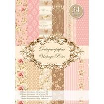 Rosas del vintage Designerpapierset