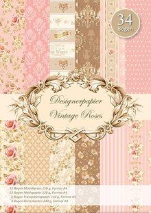 DESIGNER BLÖCKE  / DESIGNER PAPER Designerpapierset Vintage Roses