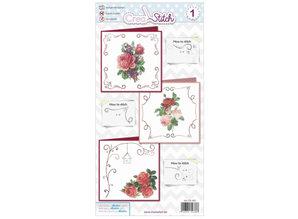 BASTELSETS / CRAFT KITS: Schöne Stickerei Karten mit Rosen