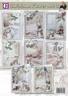 BASTELSETS / CRAFT KITS: Komplet Bastelset für 8 Weihnachtskarten