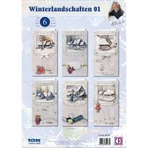 Komplettes Kartenset, Winterlandschaften für 6 Karten!