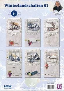 BASTELSETS / CRAFT KITS: Set scheda completa, paesaggi invernali per 6 biglietti!