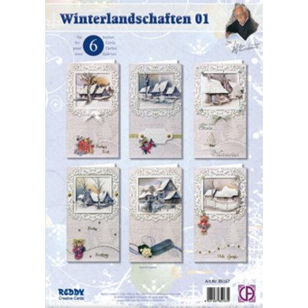 BASTELSETS / CRAFT KITS: Komplet kort sæt, vinterlandskab til 6 billetter!