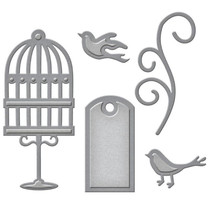 Punching and embossing template: label, cage birds and swirl