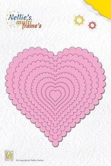 Nellie snellen Stansning og prægning skabeloner: Multi Frame Heart