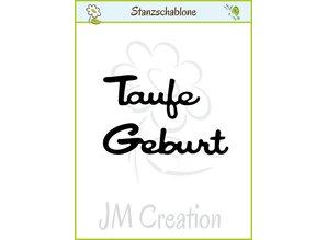 """Joy!Crafts und JM Creation Punzonado y estampado en relieve plantillas: texto alemán: """"bautismo"""" y """"nacimiento"""""""