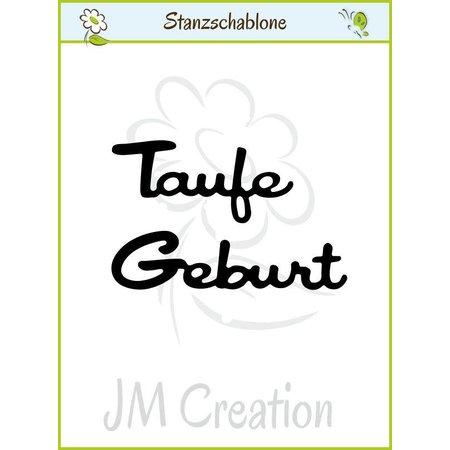 """Joy!Crafts und JM Creation Stanz- und Prägeschablonen: deutsche Text: """"Taufe"""" und """"Geburt"""""""