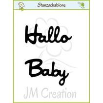 """Stansning og prægning skabeloner: Tysk tekst: """"Hello"""" og """"Baby"""""""