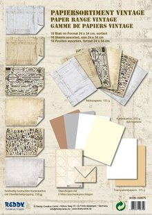 DESIGNER BLÖCKE  / DESIGNER PAPER Cartoncino assortimento Vintage, Vintage pietra di gesso, bianco / beige