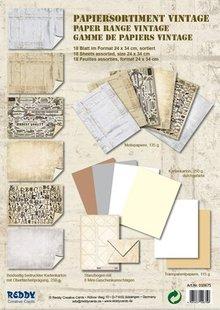 DESIGNER BLÖCKE  / DESIGNER PAPER Kartenkarton-Sortiment Vintage, Steinputz Vintage, weiss/ beige