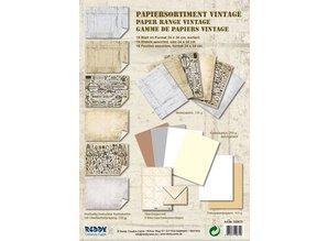 DESIGNER BLÖCKE  / DESIGNER PAPER Card stock assortment Vintage, Vintage stone plaster, white / beige
