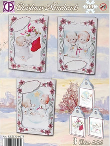 BASTELSETS / CRAFT KITS: Complete Card Set for 3 Christmas cards and 3 labels
