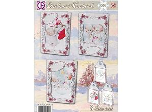 BASTELSETS / CRAFT KITS: Card Set completo per 3 cartoline di Natale e 3 etichette