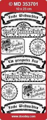"Sticker embossed Ziersticker, German text ""Christmas Greetings"""