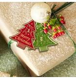Sticker prægede Ziersticker, Weihnachtsbäumchen Labels