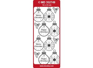 Sticker embossed Ziersticker, Christmas ball Labels