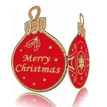 geprägte Ziersticker, Weihnachtskugel Labels