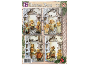 BASTELSETS / CRAFT KITS: Conjunto de tarjeta completa para 4 tarjetas de Navidad