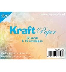 KARTEN und Zubehör / Cards 10 Kraft Papier, Karten + Umschlägen