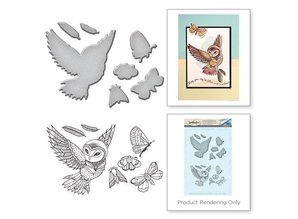 Spellbinders und Rayher Punching and stamping stencil + stamp designs: Eul and insects