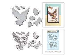 Spellbinders und Rayher Stansning og stempling stencil + frimærkemotiver: EUL og insekter