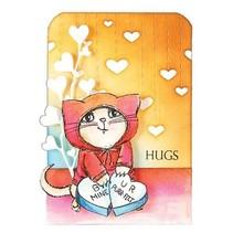 Transparante Postzegels: leuke kat met hart
