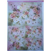 Decoupage rosas de papel Diseño