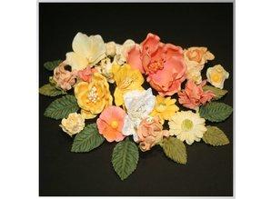 Embellishments / Verzierungen Papir blomster sortiment, orange, gul, hvid