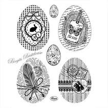 sello transparente: Huevos de Pascua de la vendimia