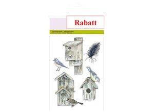 Crealies und CraftEmotions Klare frimærker, A6 - Bird huse Botanisk Sommer