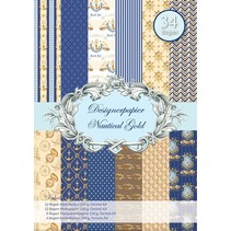 Designer paper, Nautalic gold