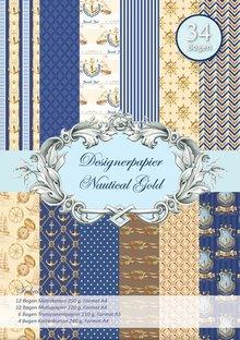 DESIGNER BLÖCKE  / DESIGNER PAPER Designer papir, Nautalic guld
